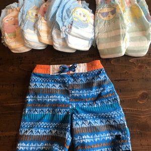 Lucky brand 18 mo swim trunks & new swim diapers